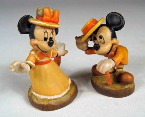 Anri Disney Woodcarvings:  Mickey Mouse & Minnie Mouse Miniatures