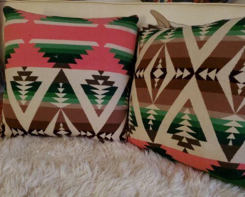 Pair of Matching Vintage Wool Indian Trade Blanket PILLOWS EXC!