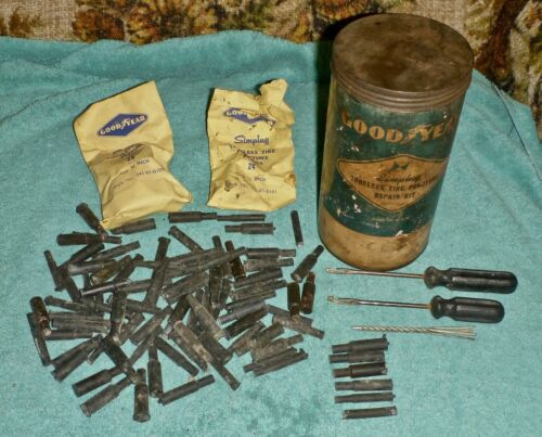 """Vintage GOOD YEAR Simplug Tubeless Tire Puncture Kit 7"""" x 4"""" x 4"""" W/Contents"""
