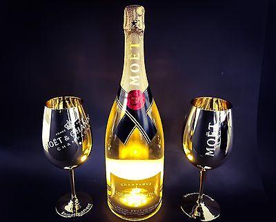 Moet Chandon Impérial LED Golden Light Up Champagner 1,5l + 2 Gold Glas 12% Vol