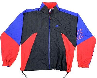 Vintage Nike Windbreaker Jacket Mens L Gray Tag Color Block Sleeve Spell Out