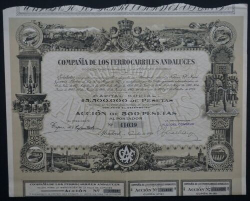 Spain - Railroad of Andalusia - 1924 - share for 500 pesetas  -Top DECO-