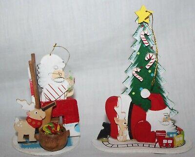 2x Schmid Emgee Wooden Santa Christmas Ornaments 1983 Sewing & Setting up Train