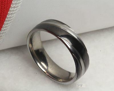 Mens Titanium Dual Tone Black Swirl Polished Finish Wedding Band Fashion Ring