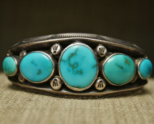 Thick Heavy Native American Turquoise Sterling Cuff Bracelet Ray Tracy Knifewing