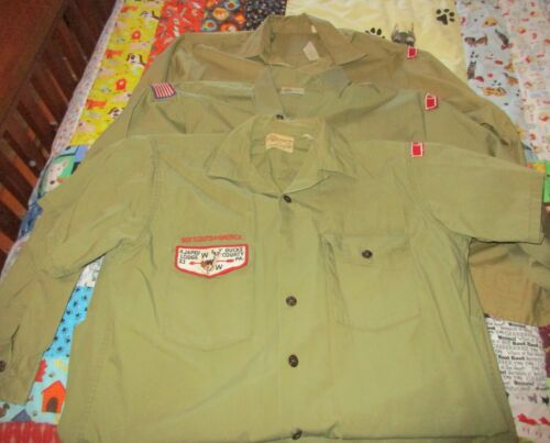 3 Vintage Boy Scouts BSA Uniform Shirts 1 Short & 2 Long Sleeve - 1960s