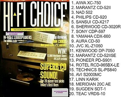 HI-FI CHOICE MARANTZ CD52IISE NAD 502 PIONEER PD-S901 TEAC VRDS-10 SUGDEN SONY