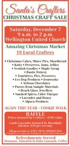 Santa's Crafters Sale. Wellington United Church.