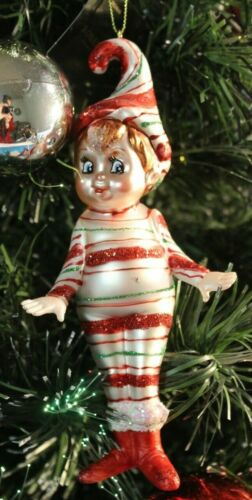 Robert Stanley Christmas 2020 Very Merry Striped Standing Elf Glass Ornament NEW