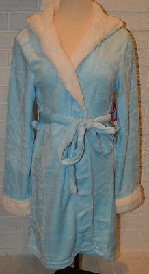 (Women's Tarea Ice Blue Playful Hooded Plush Robe Sizes S-M, L-XL)