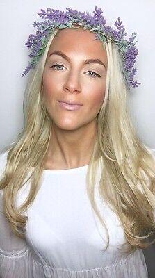 Purple French Lavender Garland Crown Hair Head Band Piece Choochie Gypsy 70's  (70s Head Band)