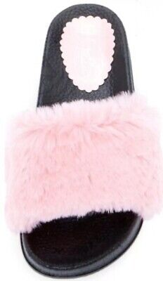 Bolero By Summer Rio Faux Fur Furry Fuzzy Slide Sandals Pink Size 7.5 (Summer Rio Slide Sandal)
