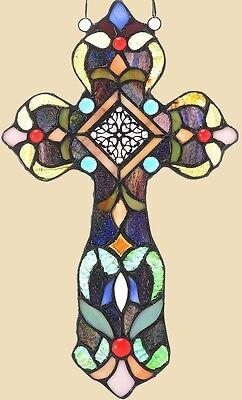 NEW Handcrafted Tiffany Style Fleur-de-lis Stained Art Glass Cross Window / Wall