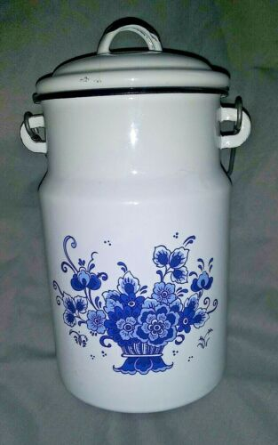 "9"" White Enamelware Bucket, Blue Floral, Wood/Metal Handle, Poland by Emalia"