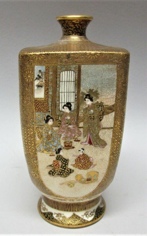 Gorgeous Imperial 4-Panel SATSUMA MEIJI-ERA Vase  c. 1890  antique Japanese