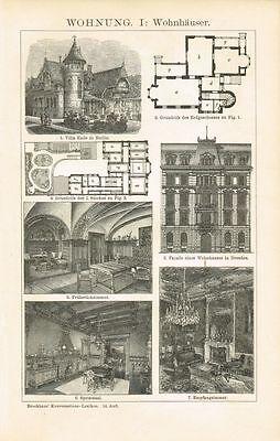 Tafel WOHNUNG / WOHNHAUS / VILLA ENDE / WOHNBAU HISTORISMUS 1895 Orig.-Holzstich