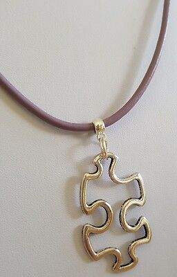 Large Autism Awareness Charm on Violet Leather Necklace