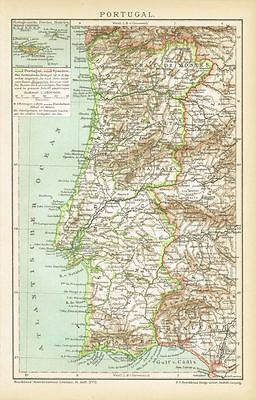Karte von PORTUGAL / MADEIRA 1897 Original-Graphik