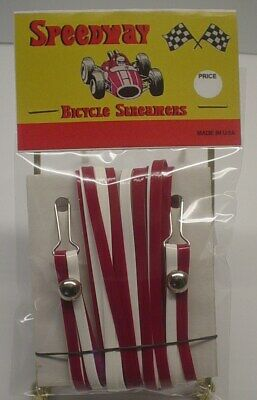 Speedway Handlebar Streamers set of 2 Dark Red & White bike Bicycle BRAND NEW - Red And White Streamers