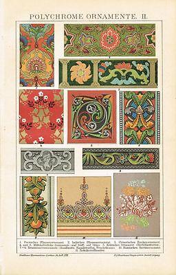 Farbtafel POLYCHROME ORNAMENTE / MUSTER Original-Lithographie 1897