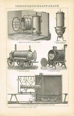 Tafel DESINFEKTIONSAPPARATE / DESINFEKTION 1897 Original-Holzstich