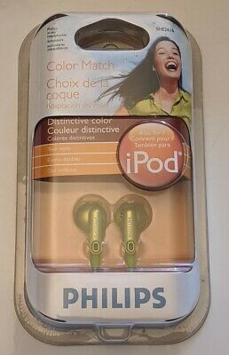 New PHILIPS Color Match In Ear Headphones GREEN Twin Vent 3.2' Cable SHE2616 NIB