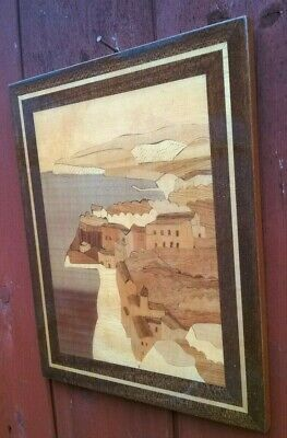 VTG ITALY Wood Inlay Marquetry  Art Picture