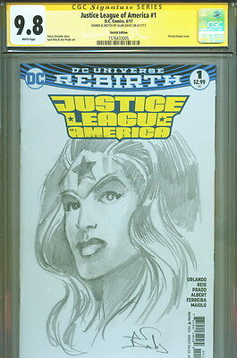 CGC SS 9.8 Alan Davis Signed Justice League #1 Original Wonder Woman Art Sketch