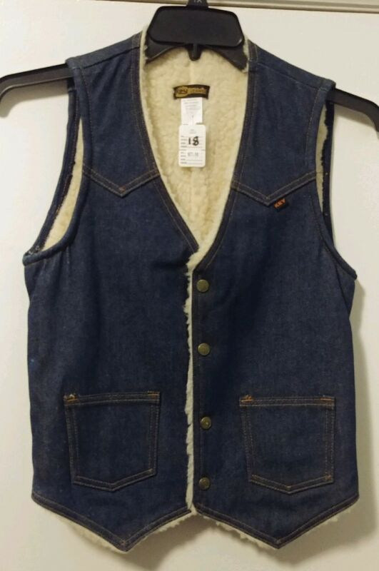 Key Jeans Imperial Vintage Denim Jean Vest Boys Sherpa Lined Washable