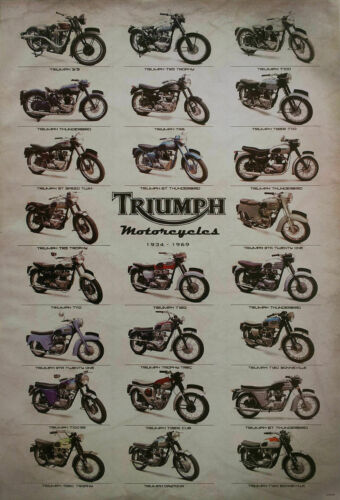 """TRIUMPH MOTORCYCLES """"1934 - 1969, 23 MODELS"""" POSTER -British Motorbikes & Cycles"""
