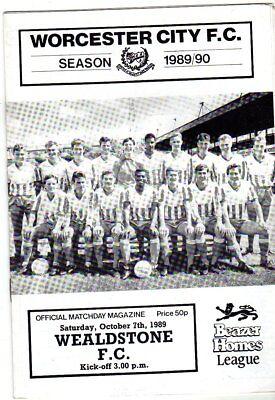 WORCESTER CITY  V  WEALDSTONE FC  7/10/1989 beazer homes league PROGRAMME