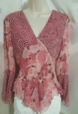 Spencer Jeremy Designer Women's Pink & Brown Silk Blouse Empire Waist Size S