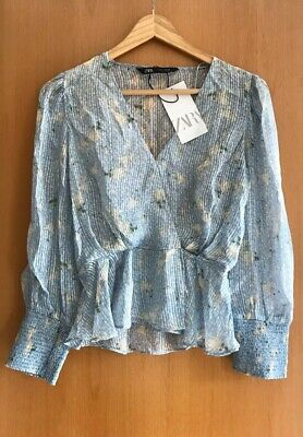 ZARA SHEER Floral Top Size XS 6 8 V Neck STYLE blue BNWT