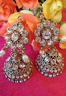 Latest Big jhumka jhumki Pearl  indian Jewellery Earring Set Stone Gold UK