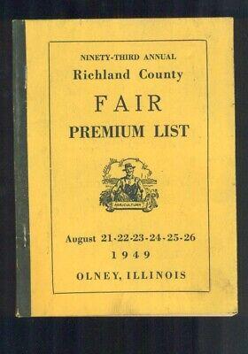 1949 Ninety-Third Annual Richland County Fair PREMIUM LIST Olney Illinois clean