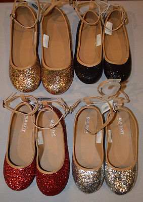 Girl's Old Navy Sparkle Glitter Ballet Flats Shoes Red, Silver, Gold, - Girls Red Flats