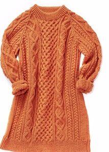 KNITTING PATTERN - BEAUTIFUL LADIES CABLE PATTERN DRESS IN ARAN BUST 28