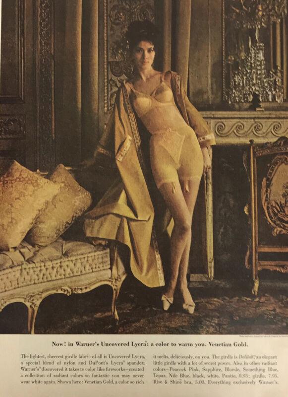 Warners Girdle Woman Magazine Print Ad Vintage Clothing Dupont Lycra Gold 1962