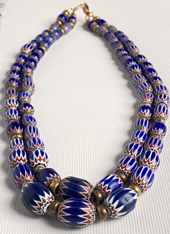 """VTG VENETIAN 6 LAYER CHEVRON AFRICAN TRADE BEADS DOUBLE STRAND NECKLACE 21"""" GOLD"""