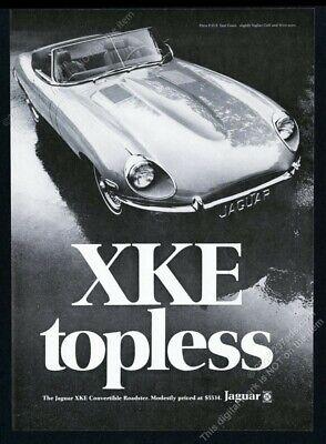 1969 Jaguar XKE convertible roadster 'topless' photo vintage print ad