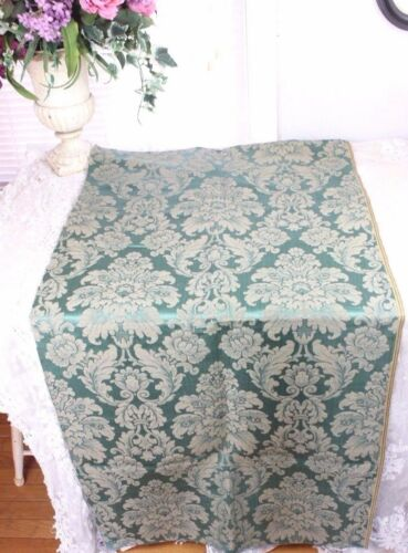 Antique French 19thC Green Frame Lyon Silk Home Dec Damask Fabric c1880-1890