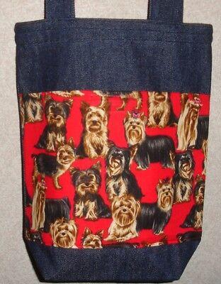 NEW Handmade Small Yorkshire Terrier Yorkie Dog Denim Tote Bag (Yorkshire Terrier Tote Bag)