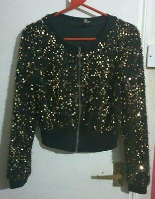 Ladies Women Sexy Gold Glittery Fluffy Jumper Jacket