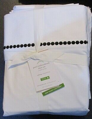 Pottery Barn White 400 Thread Ct. Pearl Embroidered Organic Cal. King Sheet Set  Organic 400 Thread