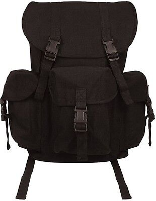 BLACK Canvas Outfitter Military Rucksack Backpack School Book bag Daypack 9202