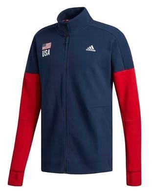Adidas Men's USA Flag Volleyball Warm-up Jacket Coat Sweatshirt Navy/Red CF1599