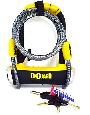 Onguard Bike D U Lock Pitbull Mini DT 8008 Shackle Lock /& Cable Cycle Scooter