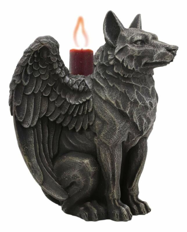 """Ebros Sitting Gothic Angel Winged Wolf Candle Holder Figurine 5""""H Gargoyle"""