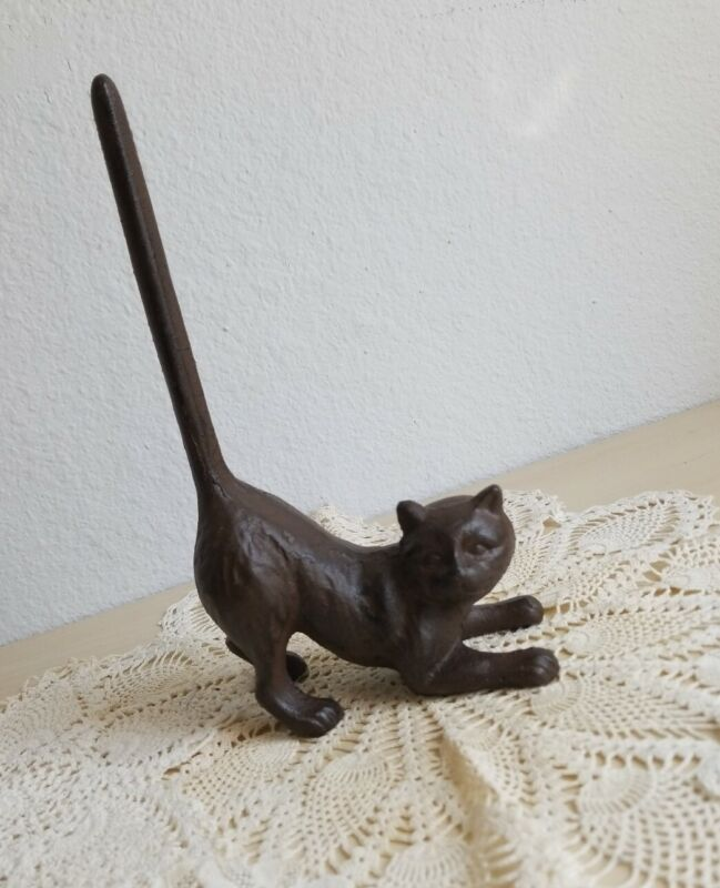 Cast Iron Long Tailed Kitty Cat Holder Decor Paperweight Doorstop