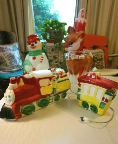Vintage 1970s Christmas Blow Mold LOT Santa Train, Reindeer w Candle, Snowman